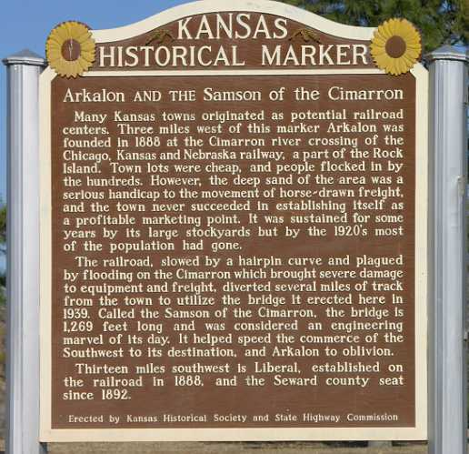 Samson of the Cimarron and Arkalon Kansas Historical Marker