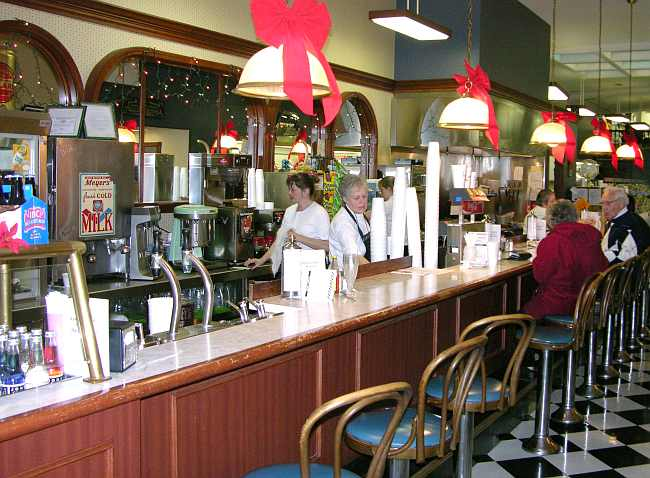 soda fountain and lunch counter at the Corner Pharmacy