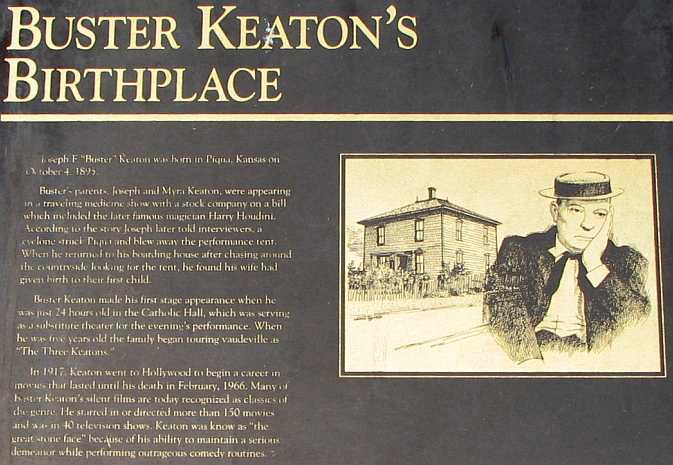 Buster Keaton Birthplace marker in Piqua Kansas