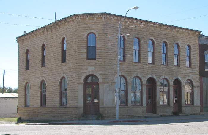 Cummins Block Building in downtown Lincoln, Kansas.