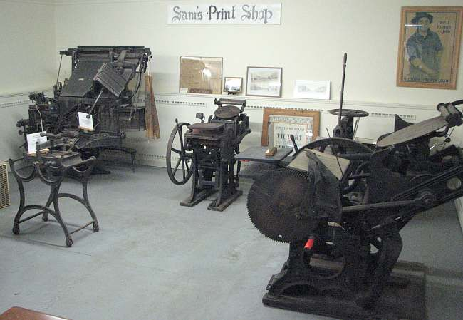 Sam's print shop in the Emmett Kelly Museum