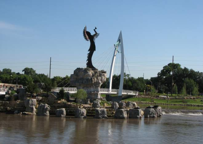 Keeper of the Plains and Arkansas River pedestrian bridge