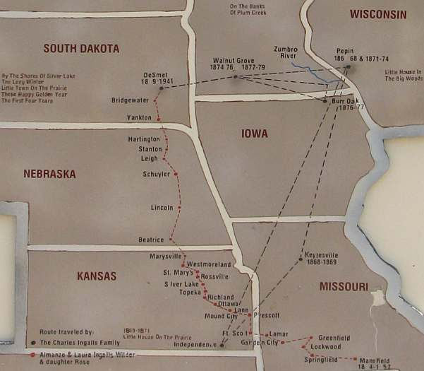 Map of the Ingalls and wolder family travels.