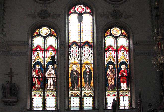 St. Mary's Catholic Church leaded glass windows.