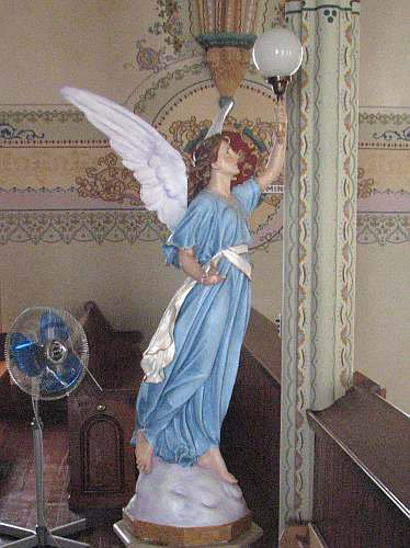 Angel statue at St. Mary's Catholic Church in St. Benedict, Kansas