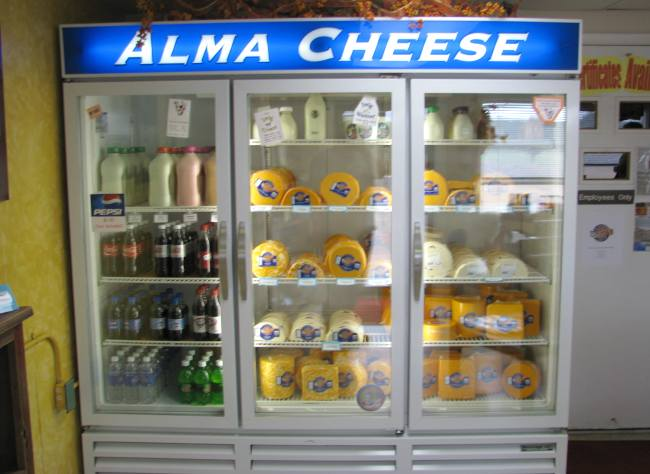 Retail cheese cooler at Alma Creamery