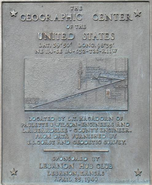 Geographical Center of the United States plaque