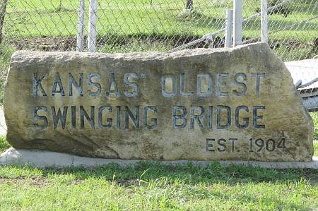 Kansas' oldest swinging bridge - Moline, Kansas