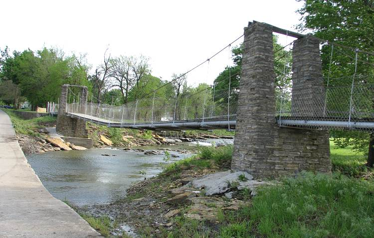 Moline Swinging Bridge and Waterfall