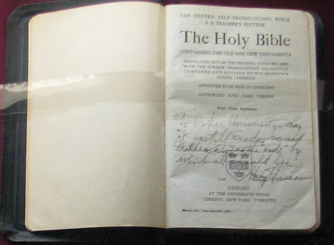 Bible inscribed by President Harry Truman.