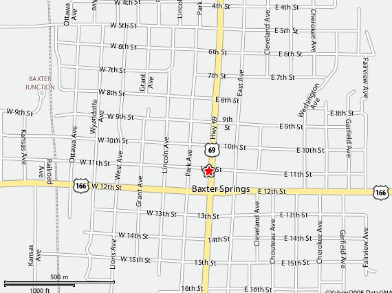 Cafe on the Route Baxter Springs Map