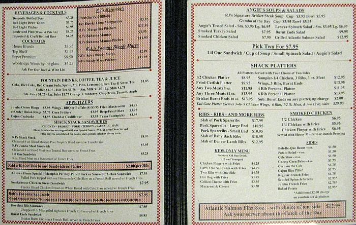 RJ's Bob-Be-Que Shack menu