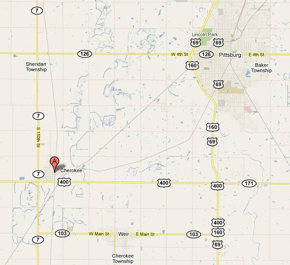 Idle-A-While Bar and Grill Map - Cherokee, Kansas