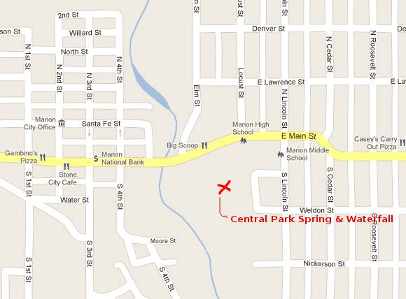 Central Park Historical Springs Map - Marion, Kansas