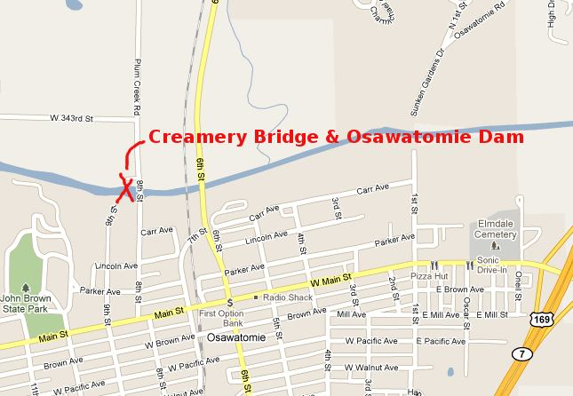 Creamery Bridge and Osawatomie Dam Map - Osawatomie, Kansas