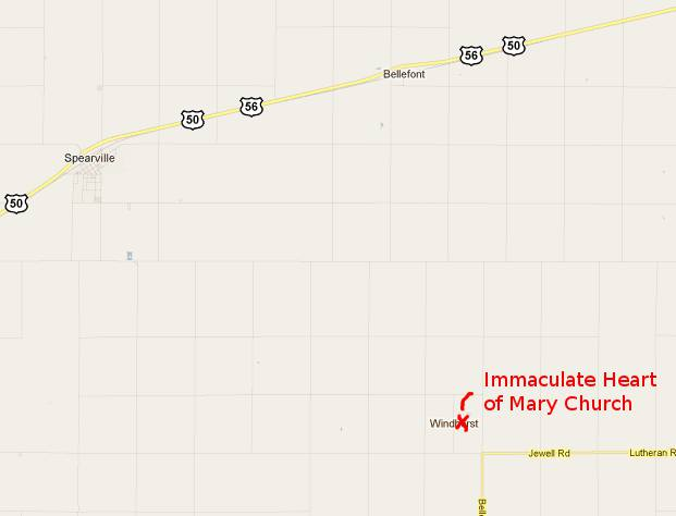 Immaculate Heart of Mary Church map -  Windthorst, Kansas