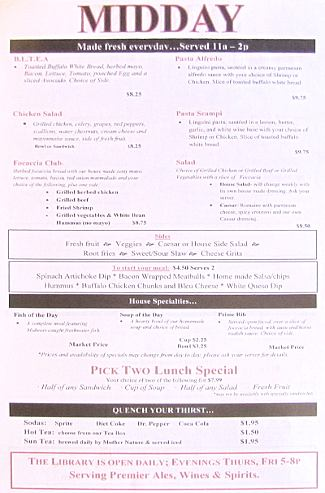 Lyons Twin Mansions lunch menu