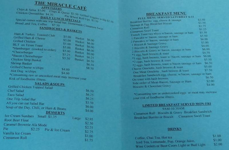 The Miracle Cafe Menu