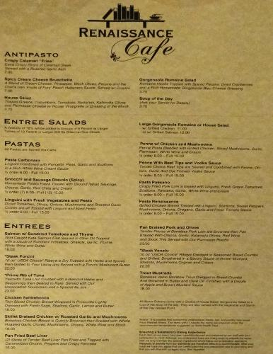 Renaissance Cafe menu