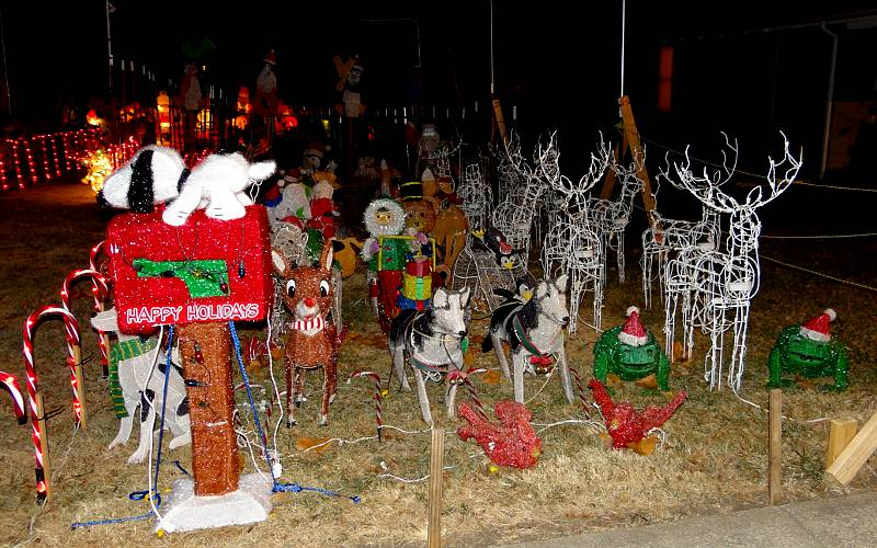 Snoopy mailbox, lighted reindeer and deer