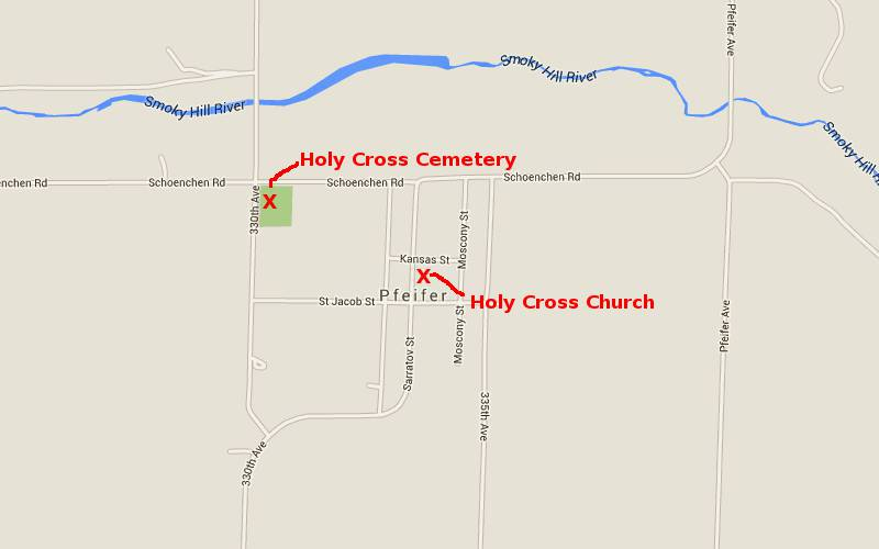 Holy Cross Chhurch Map - Pfeifer, Kansas