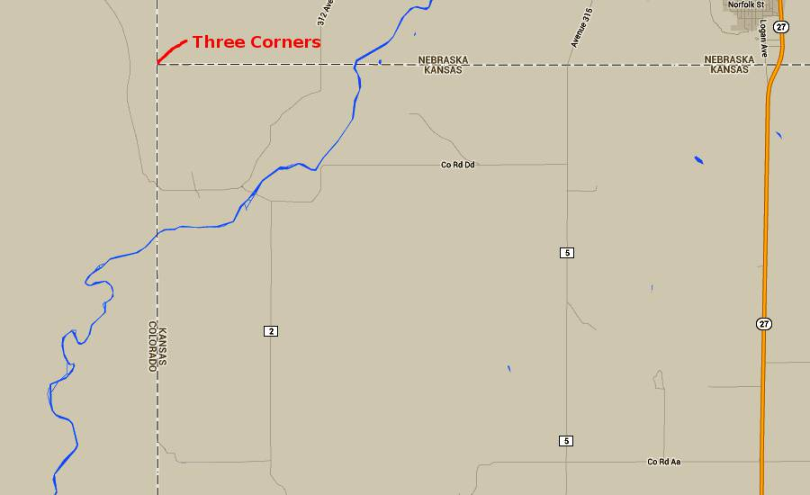 Three Corners Tripoint Map - Arikaree Breaks, Kansas