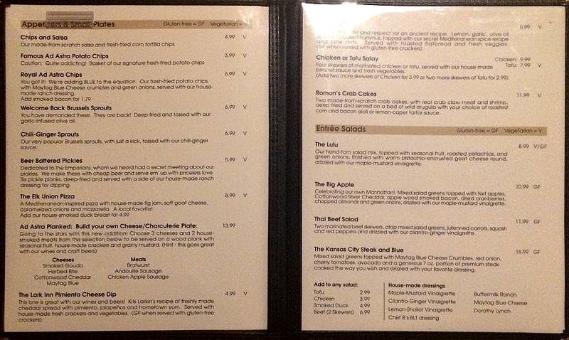 Ad Astra menu - appetizers, small plates, and salads