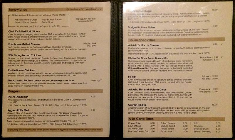 Ad Astra menu - burgers, sandwiches and entrees