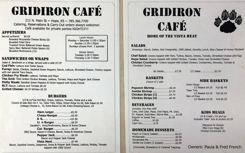 Gridiron Cafe Menu - Hope, Kansas