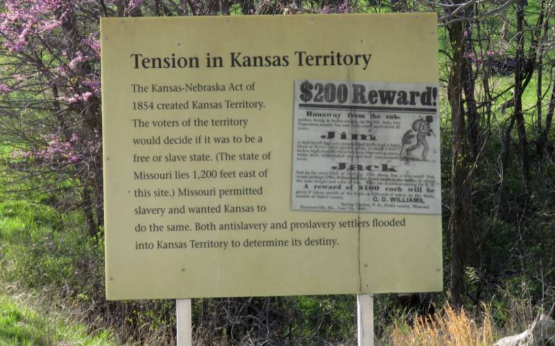 Tension in Kansas Teritory sign