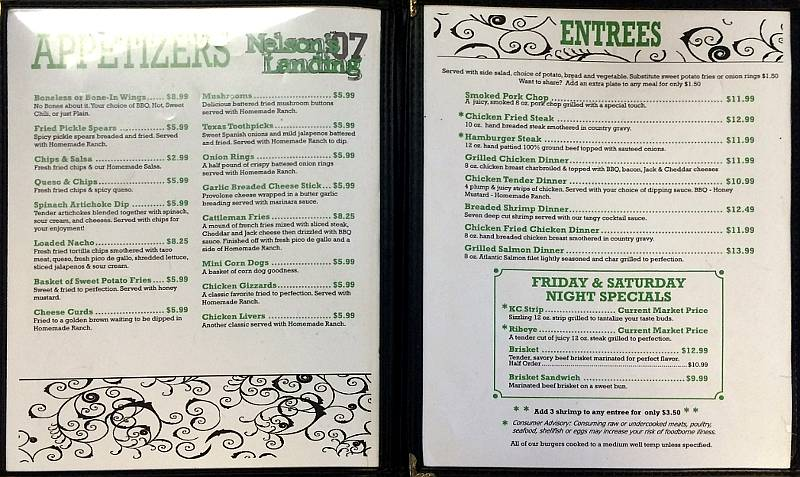 Nelson's Landing Appetizer and Entree menu