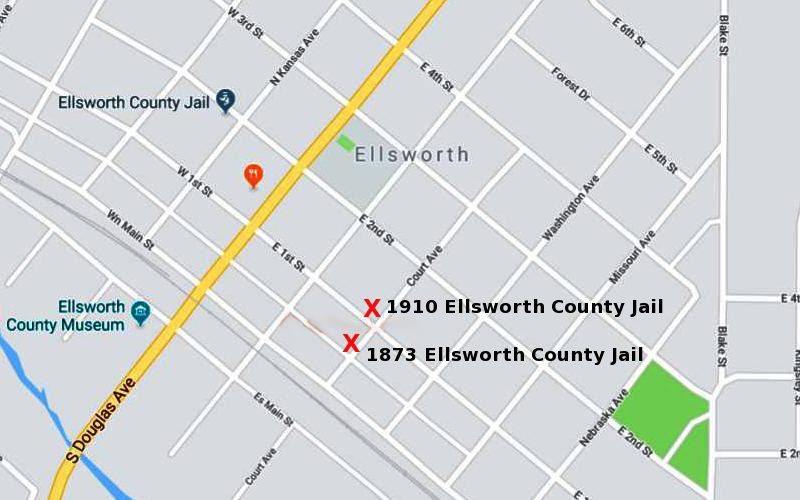 1873 Ellsworth County Jail Map - Ellsworth, Kansas