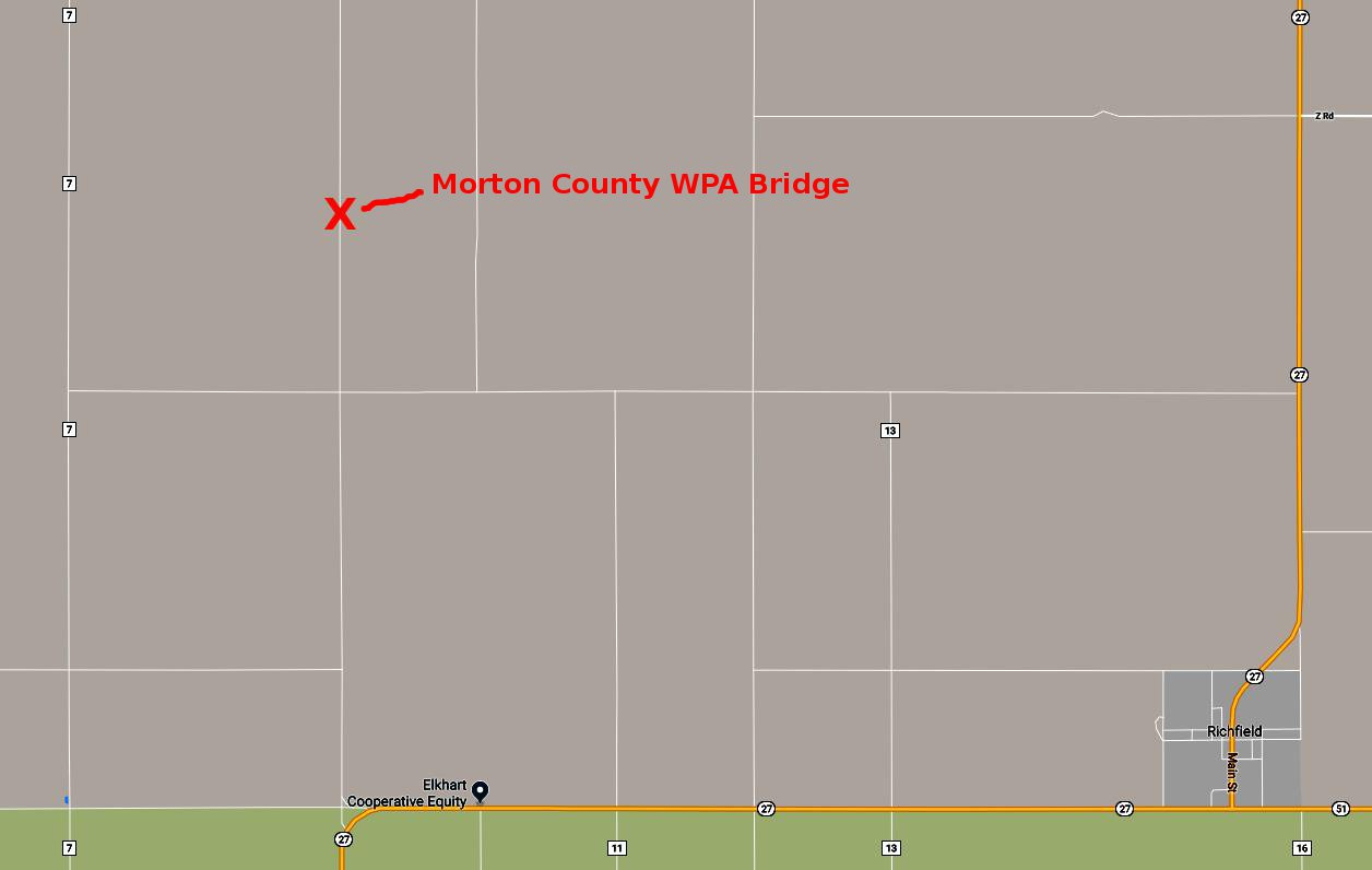 Morton County WPA Bridge Map - Morton County, Kansas
