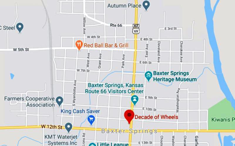 Decade of Wheels Map - Baxter Springs, Kansas