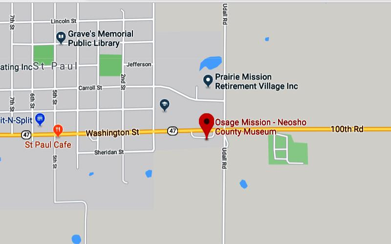 Osage Mission - Neosho County Museum Map: St. Paul, Kansas