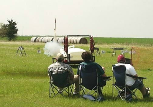 Watching the rockets launch at KLOUDbusters near Argonia, Kansas